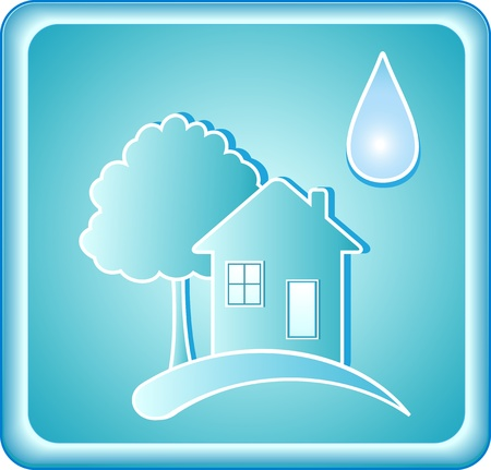 pure blue water sign with house tree and drop Stock Vector - 12340582