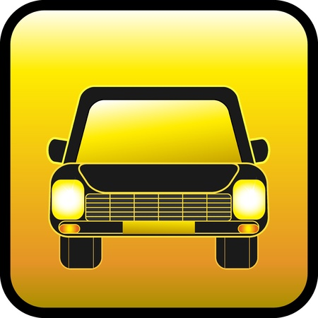 headlamp: glass yellow sign with car and glowing lights Illustration