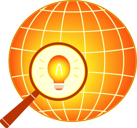 electrical icon with earth and bulb in magnifier silhouette Vector