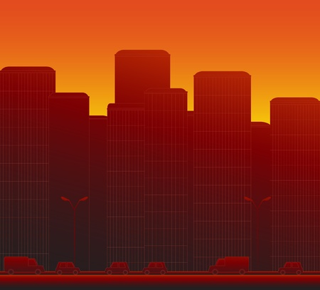 abstract city: red modern evening urban city landscape with cars Illustration