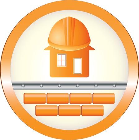 logotipo de construccion: señal redonda de la seguridad con los ladrillos de la casa y el casco