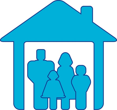 foster: symbol happy family with people silhouette in blue house
