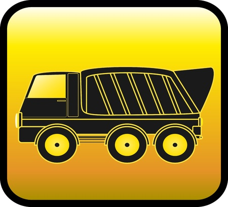 silhouette big dump truck on a glossy yellow background Vector