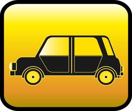 transport logo: private city car on glossy yellow background