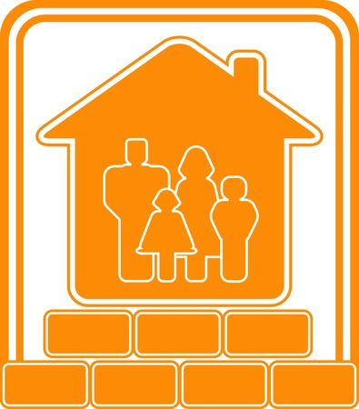 builder logo: symbol of construction new cottage with bricks house and family