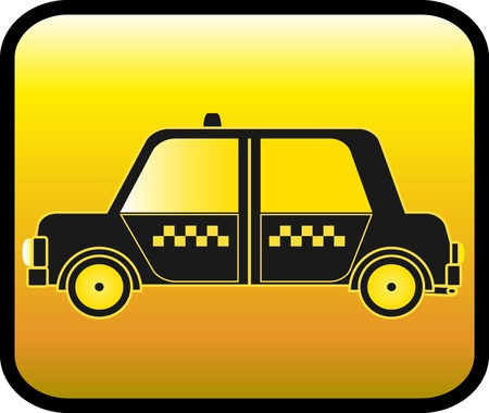 glossy urban button with silhouette cab symbol taxi Vector