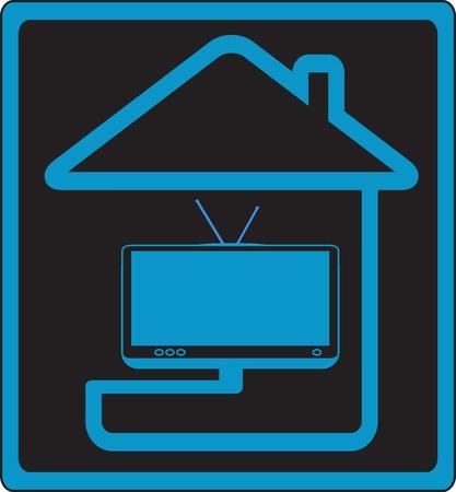антенны: вектор икона с домом и современность ТВ символ силуэт кабельного телевидения