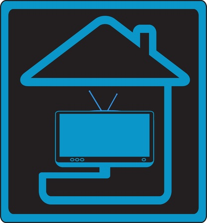 internet logo: vector icon with house and modern TV silhouette symbol cable television