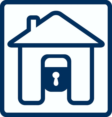 forbidden to pass: symbol of safety with house lock silhouette