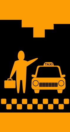 background with silhouette skyscraper, taxi car and businessman with portfolio Vector
