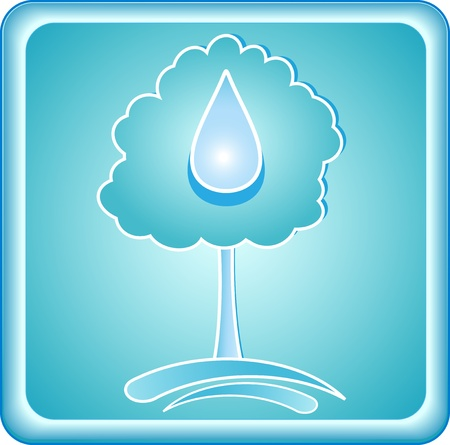 blue symbol clean ecology with tree and drop Vector