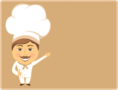 confectioner: cheerful cook chowing thumb up on card on brown background