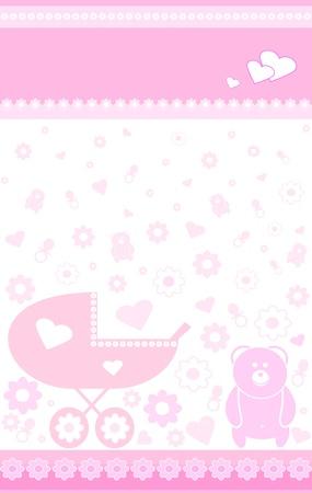 pezones: fondo de color rosa con los niños juguetes, chupones, flores y corazones