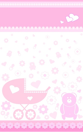 new born baby girl: pink background with childrens toys, nipples, flowers and hearts Illustration