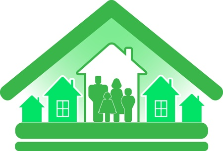 sign ecology construction cottage with houses and family silhouette Stock Vector - 12340474
