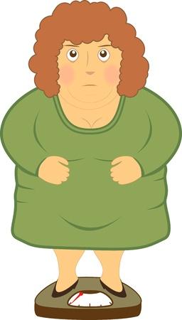 mujer gorda: mujer gorda con sobrepeso de pie en las escalas peque�as Vectores