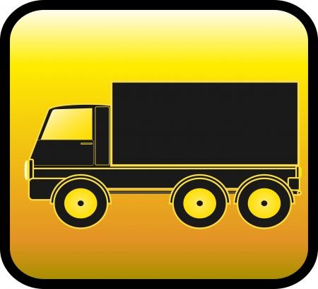 panneau jaune avec la silhouette de camion de transport sur un fond brillant