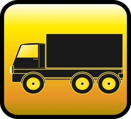 transport logo: yellow sign with transport truck silhouette on a glossy background Illustration