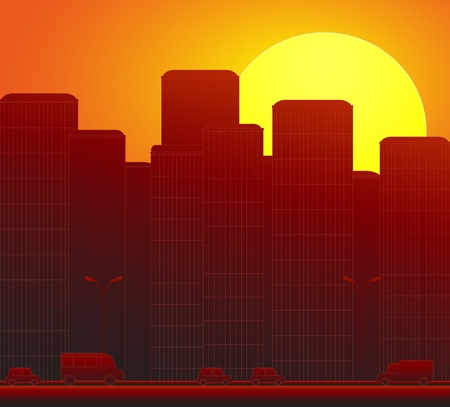 sunset in modern city landscape skyscraper and cars silhouette Vector