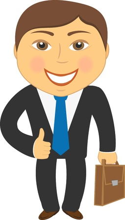 isolated cartoon businessman with portfolio and showing thumb up Stock Vector - 12340497