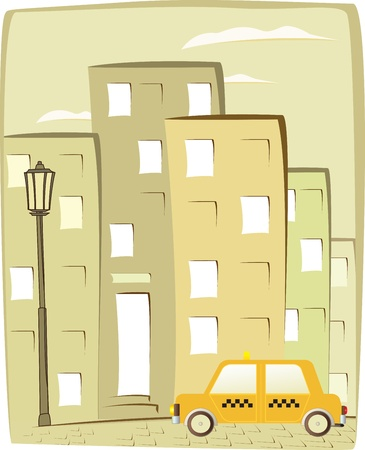 cartoon taxi on city background with house silhouette Vector