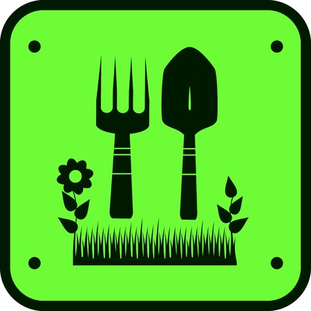 green garden sign with silhouette of grass, flower and tools for ground work Vector