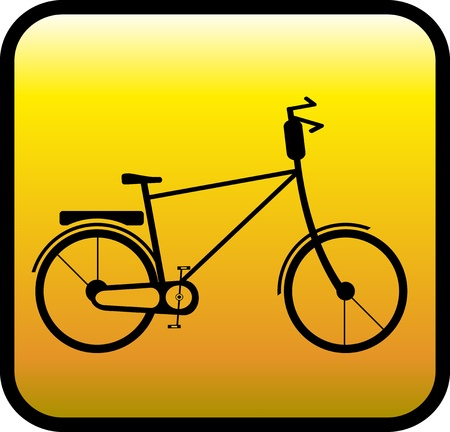 velocipede: glossy yellow icon with retro bicycle