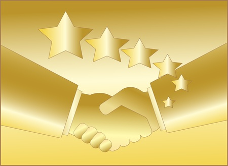 golden handshake with star symbol for rich Stock Vector - 12340534