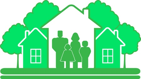 construction team: eco construction sign with green tree, house and big family silhouette Illustration