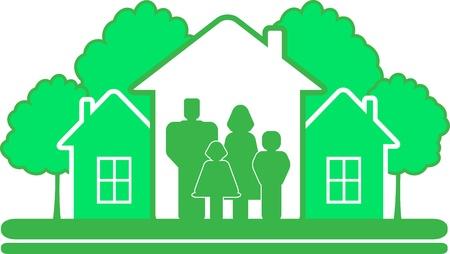 signe de la construction écologique avec des arbres verts, la maison et la silhouette grande famille