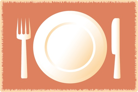 icon with silhouette of plate fork knife on restaurant tablecloth Vector
