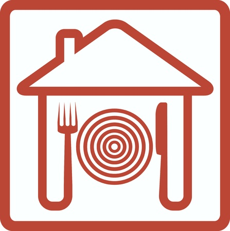 icon with knife fork and plate in house silhouette Vector
