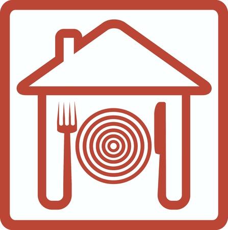 logo de comida: icono con el tenedor el cuchillo y la placa de la silueta de la casa Vectores