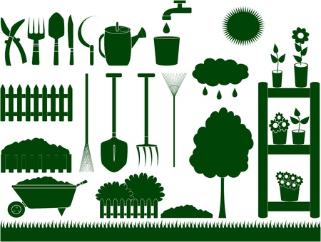 green garden tools for household isolated Illustration