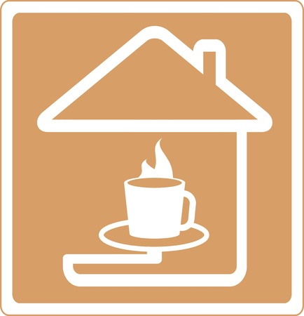 coffee house: brown icon with silhouette house and cup of hot coffee