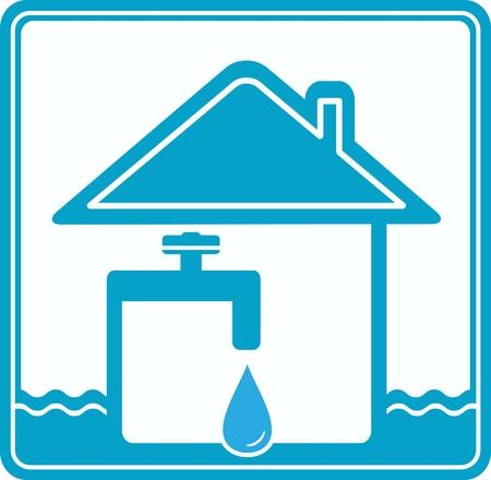 plomeria: icono azul con la casa, deje caer, tubería de agua y la silueta del grifo