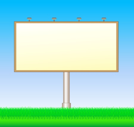 light big board on background with blue sky and green grass Vector