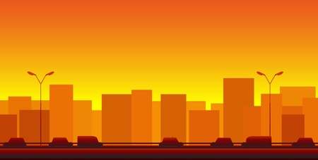 red urban transport background with skyscraper and cars Stock Vector - 12340611