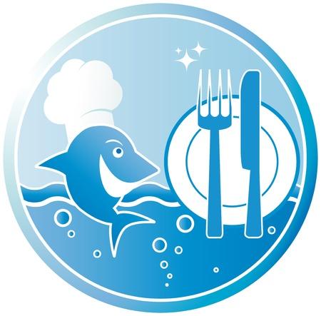 logos restaurantes: s�mbolo de la plato de pescado con el cocinero y utensilios Vectores