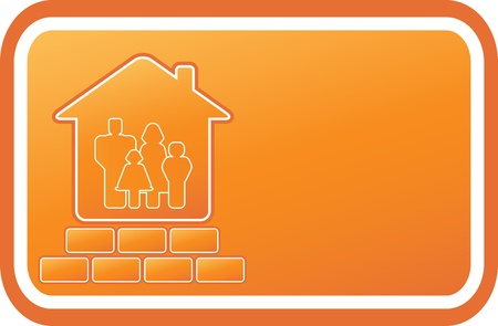 yellow emblem with house, bricks and family on card Vector