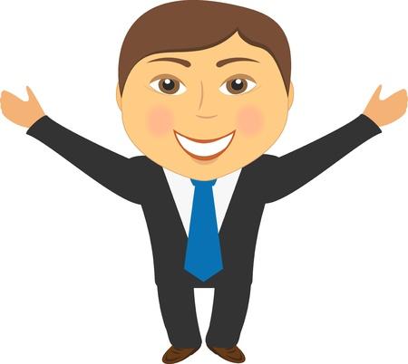 mani cartoon: cartoon uomo felice in abito sorridente e saluta mano