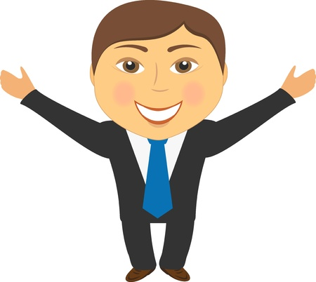 happy cartoon man in suit smiling and greeting hand up