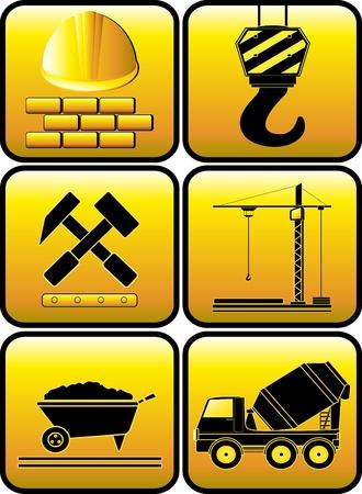 camion grua: fijar el icono de la construcción brillante con la silueta de equipos