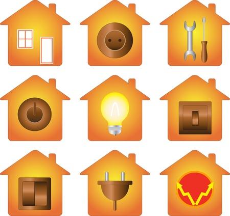 conjunto de icono de aislados con el equipo el�ctrico en la silueta de la casa