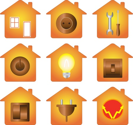 set of icon isolated with electrical equipment on house silhouette Vector