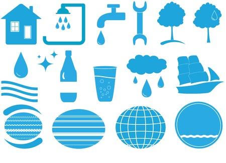 set van blauwe geïsoleerde water veel objecten met tools Vector Illustratie