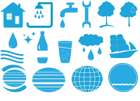 un conjunto de objetos azules de agua aislados con muchas herramientas Vectores