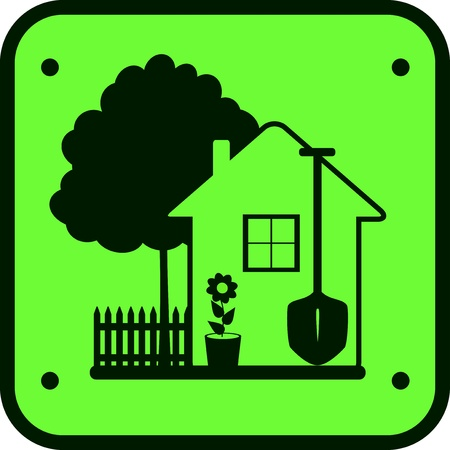 ware house: eco green sign garden work with tree, house, flower and tools