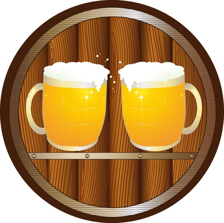 beer mugs: sign with beer barrel and two glass beer mugs