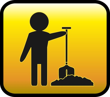 gloss sign with man worker silhouette shovel and ground Stock Vector - 12340471